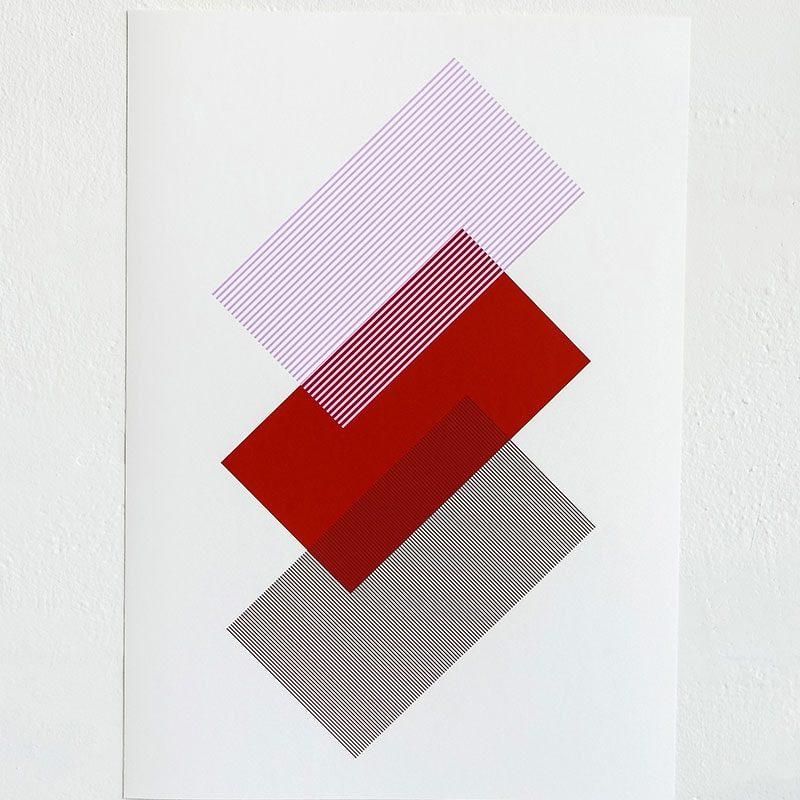 solids strokes print by raw color a3 red
